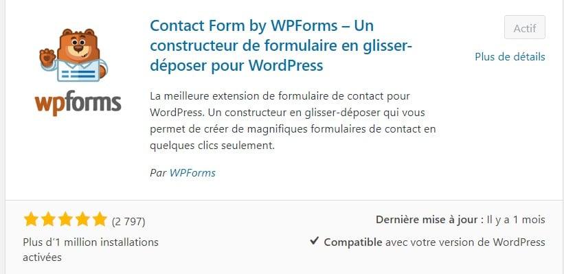 WPForm, extension pour créer des formulaires de contact