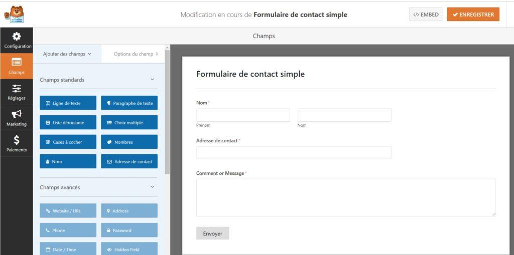 Formulaire basique proposé par WPForm