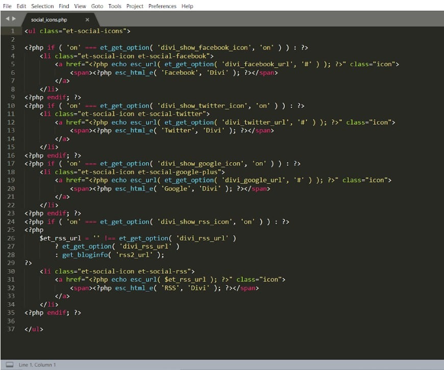 Capture écran Sublime Text